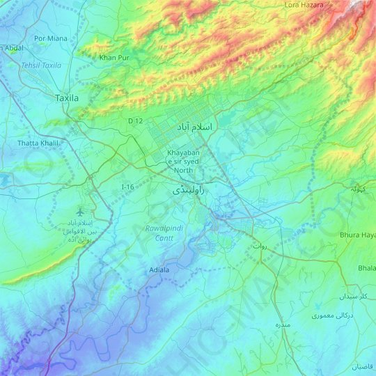 Mappa topografica راولپنڈی, altitudine, rilievo