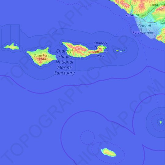 Mappa topografica Channel Islands National Park, altitudine, rilievo